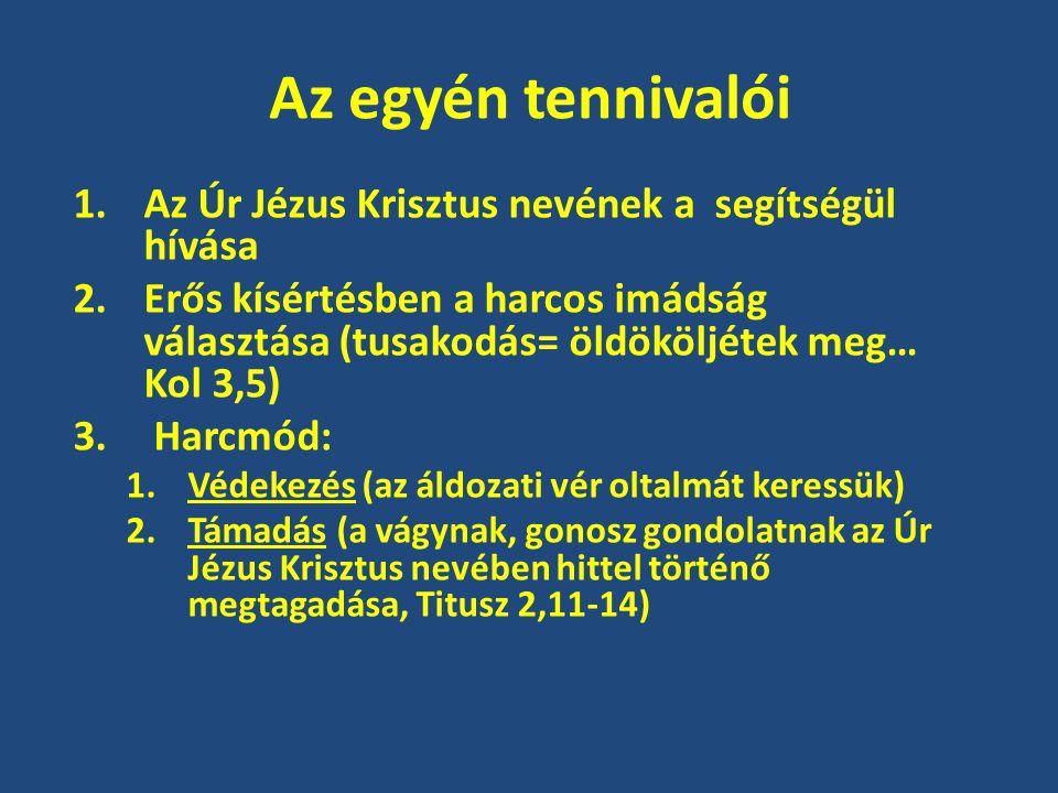 Az egyén tennivalói 1.Az Úr Jézus Krisztus nevének a segítségül hívása 2.Erős kísértésben a harcos imádság választása (tusakodás= öldököljétek meg… Kol 3,5) 3.