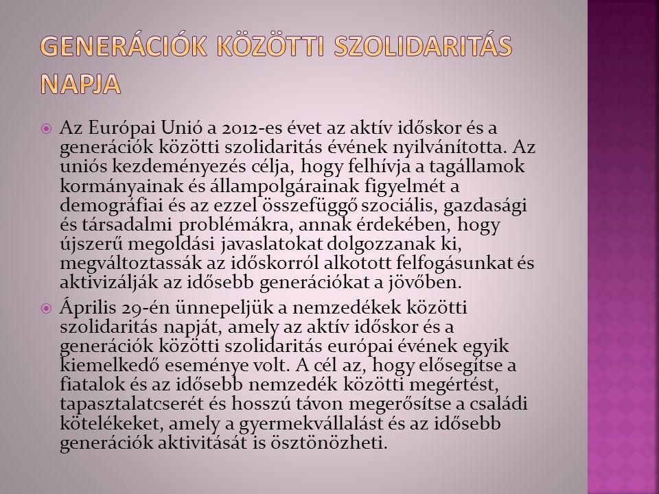  Az Európai Unió a 2012-es évet az aktív időskor és a generációk közötti szolidaritás évének nyilvánította. Az uniós kezdeményezés célja, hogy felhív