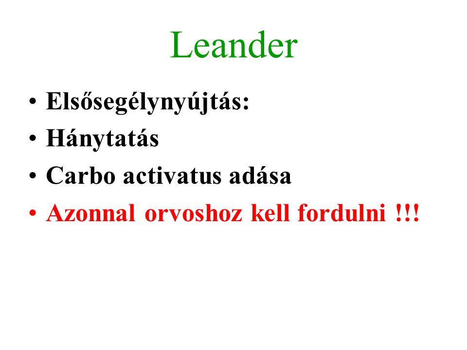 Leander Elsősegélynyújtás: Hánytatás Carbo activatus adása Azonnal orvoshoz kell fordulni !!!