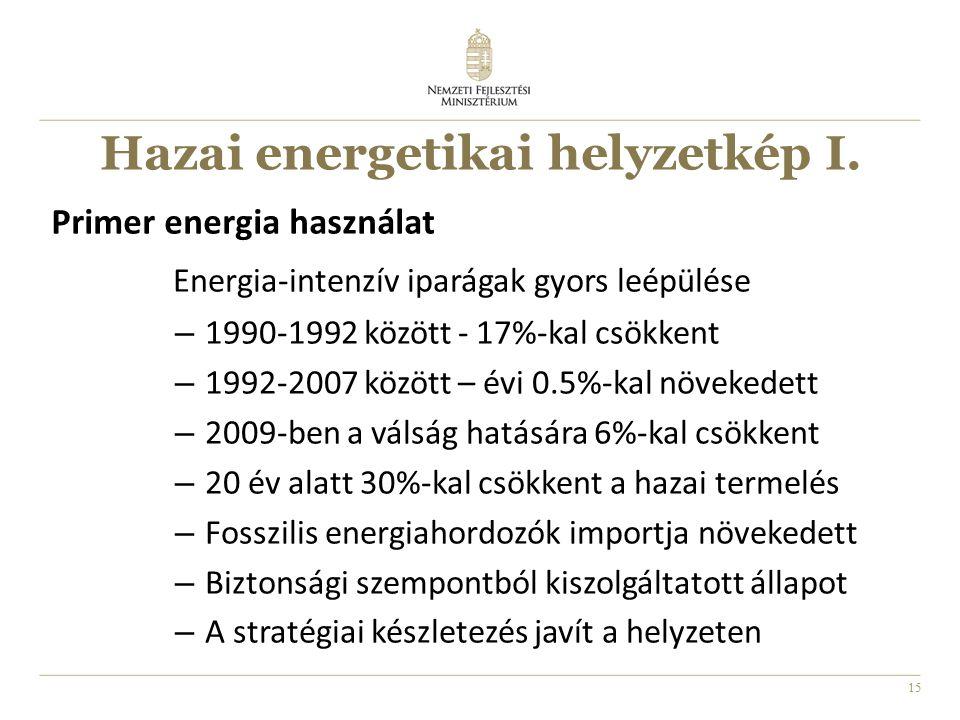 15 Hazai energetikai helyzetkép I. Energia-intenzív iparágak gyors leépülése – 1990-1992 között - 17%-kal csökkent – 1992-2007 között – évi 0.5%-kal n
