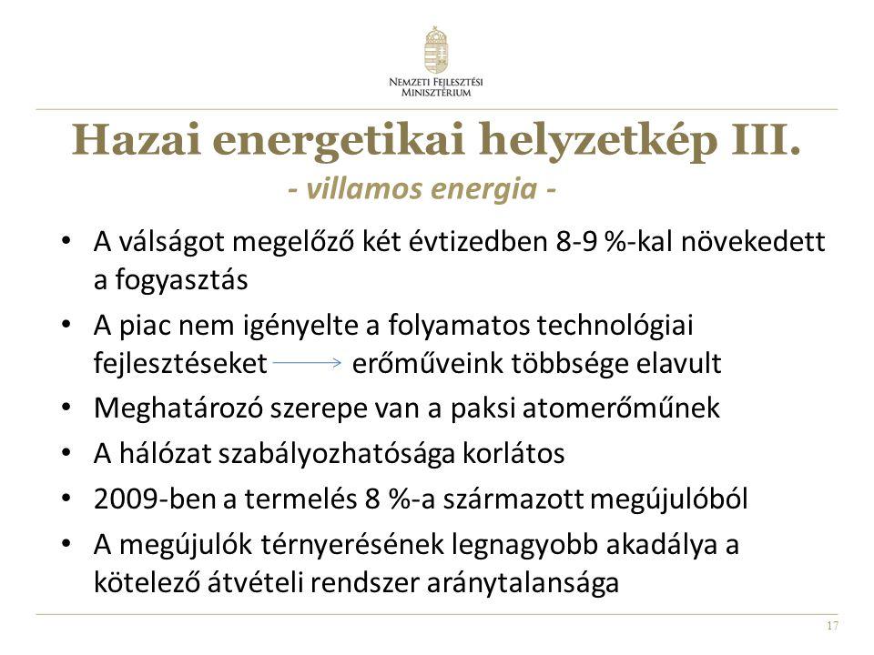 17 Hazai energetikai helyzetkép III. A válságot megelőző két évtizedben 8-9 %-kal növekedett a fogyasztás A piac nem igényelte a folyamatos technológi