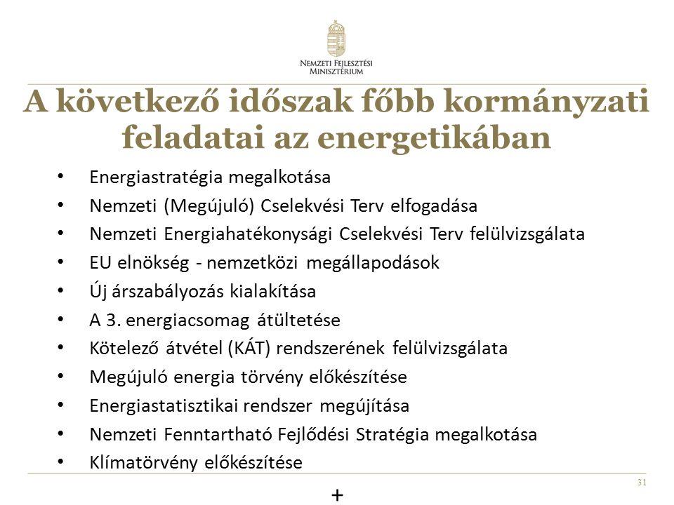 31 A következő időszak főbb kormányzati feladatai az energetikában Energiastratégia megalkotása Nemzeti (Megújuló) Cselekvési Terv elfogadása Nemzeti