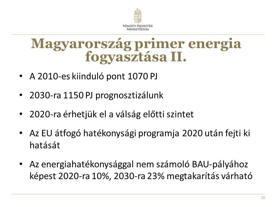 36 Magyarország primer energia fogyasztása II. A 2010-es kiinduló pont 1070 PJ 2030-ra 1150 PJ prognosztizálunk 2020-ra érhetjük el a válság előtti sz