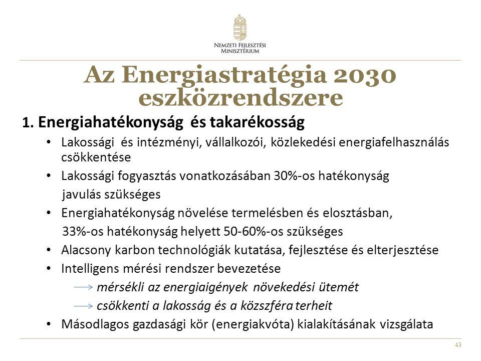 43 1. Energiahatékonyság és takarékosság Lakossági és intézményi, vállalkozói, közlekedési energiafelhasználás csökkentése Lakossági fogyasztás vonatk