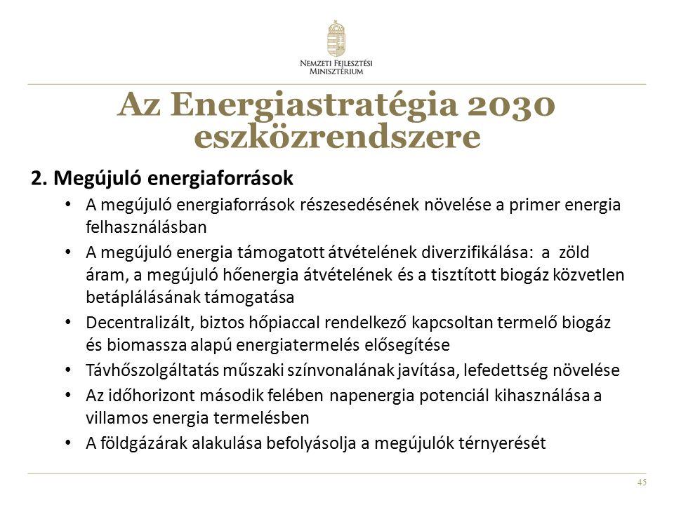 45 2. Megújuló energiaforrások A megújuló energiaforrások részesedésének növelése a primer energia felhasználásban A megújuló energia támogatott átvét