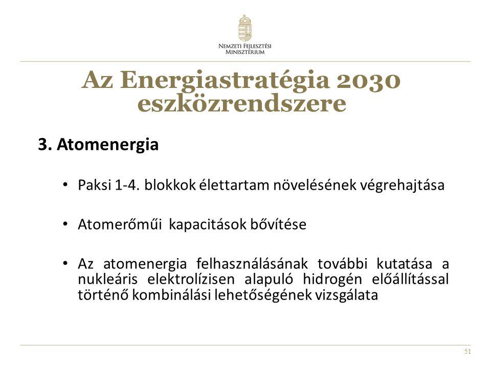 51 3. Atomenergia Paksi 1-4. blokkok élettartam növelésének végrehajtása Atomerőműi kapacitások bővítése Az atomenergia felhasználásának további kutat