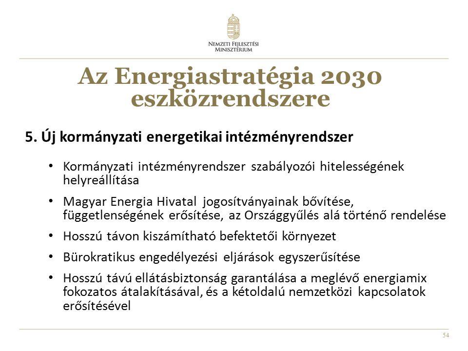 54 5. Új kormányzati energetikai intézményrendszer Kormányzati intézményrendszer szabályozói hitelességének helyreállítása Magyar Energia Hivatal jogo