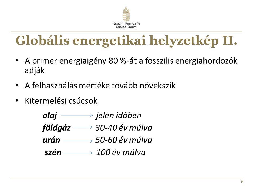 9 Globális energetikai helyzetkép II. A primer energiaigény 80 %-át a fosszilis energiahordozók adják A felhasználás mértéke tovább növekszik Kitermel