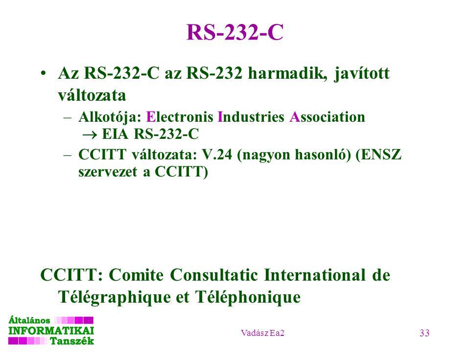 Vadász Ea2 33 RS-232-C Az RS-232-C az RS-232 harmadik, javított változata –Alkotója: Electronis Industries Association  EIA RS-232-C –CCITT változata