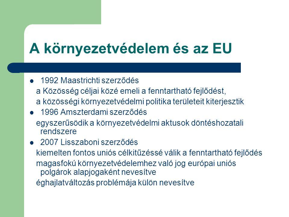 A környezetvédelem és az EU 1992 Maastrichti szerződés a Közösség céljai közé emeli a fenntartható fejlődést, a közösségi környezetvédelmi politika te