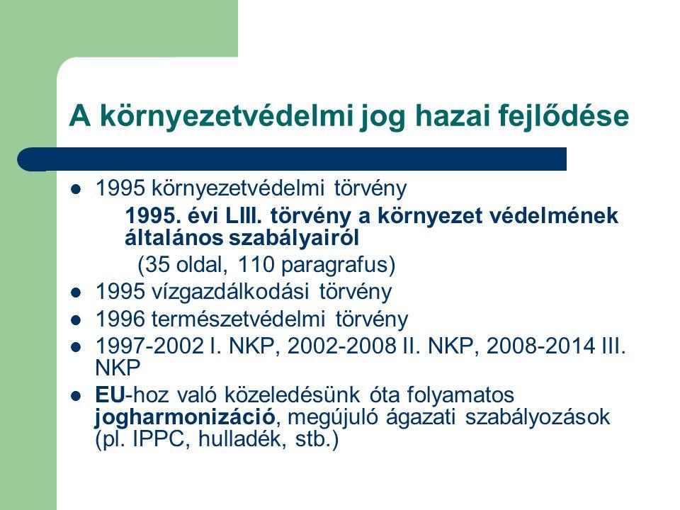 A környezetvédelmi jog hazai fejlődése 1995 környezetvédelmi törvény 1995. évi LIII. törvény a környezet védelmének általános szabályairól (35 oldal,