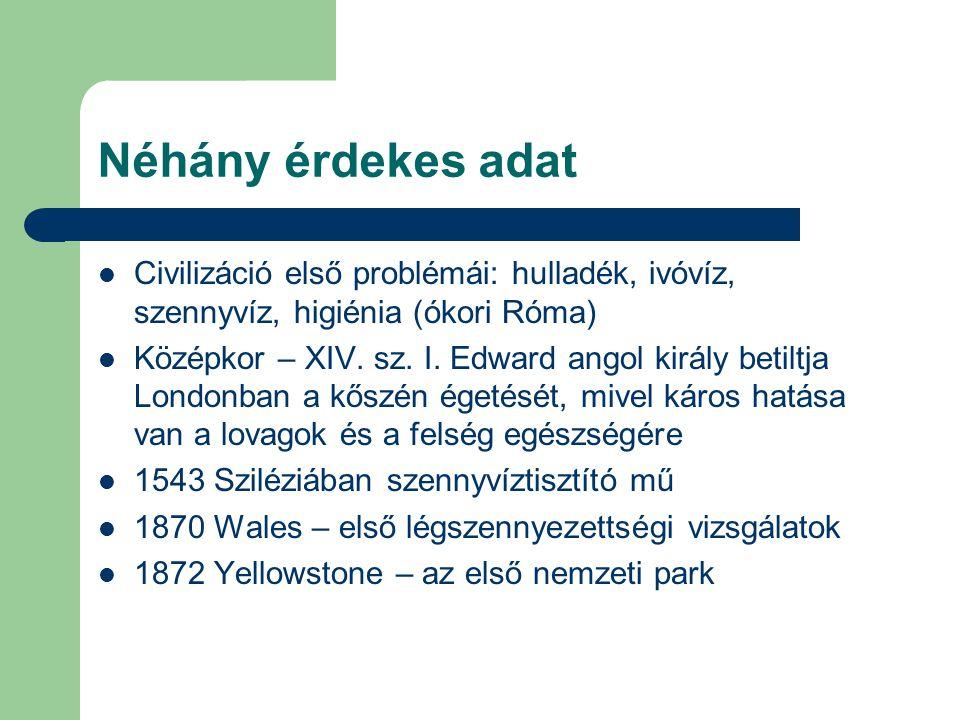 Néhány érdekes adat Civilizáció első problémái: hulladék, ivóvíz, szennyvíz, higiénia (ókori Róma) Középkor – XIV. sz. I. Edward angol király betiltja