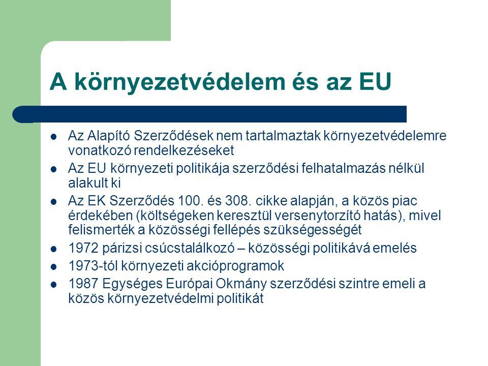 A környezetvédelem és az EU Az Alapító Szerződések nem tartalmaztak környezetvédelemre vonatkozó rendelkezéseket Az EU környezeti politikája szerződés