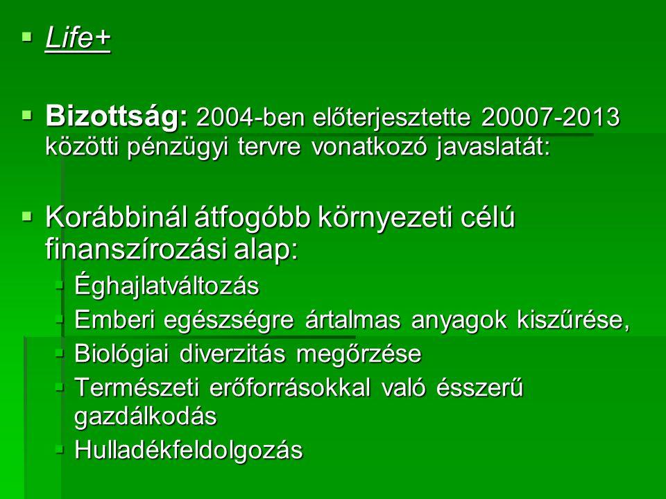  Life+  Bizottság: 2004-ben előterjesztette 20007-2013 közötti pénzügyi tervre vonatkozó javaslatát:  Korábbinál átfogóbb környezeti célú finanszírozási alap:  Éghajlatváltozás  Emberi egészségre ártalmas anyagok kiszűrése,  Biológiai diverzitás megőrzése  Természeti erőforrásokkal való ésszerű gazdálkodás  Hulladékfeldolgozás