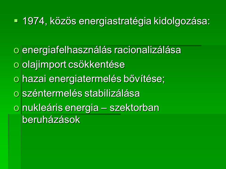  1974, közös energiastratégia kidolgozása: oenergiafelhasználás racionalizálása oolajimport csökkentése ohazai energiatermelés bővítése; oszéntermelés stabilizálása onukleáris energia – szektorban beruházások