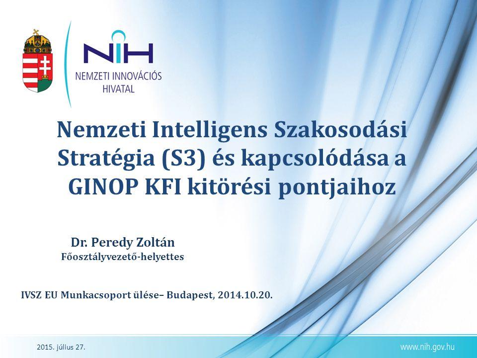 2015. július 27. Nemzeti Intelligens Szakosodási Stratégia (S3) és kapcsolódása a GINOP KFI kitörési pontjaihoz Dr. Peredy Zoltán Főosztályvezető-hely