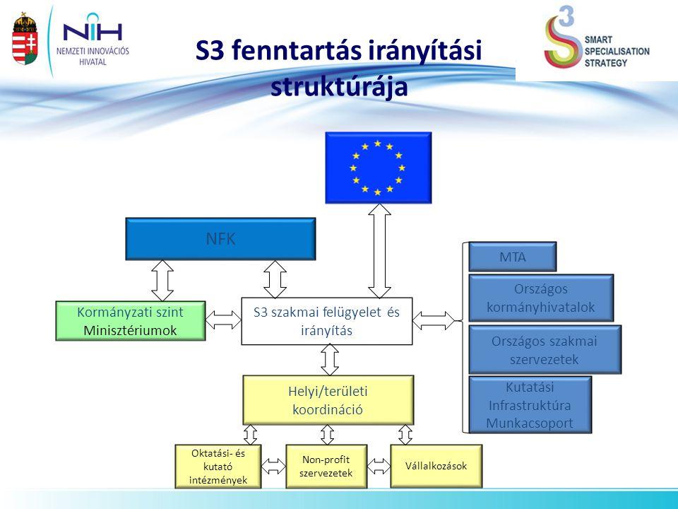 S3 fenntartás irányítási struktúrája S3 szakmai felügyelet és irányítás Helyi/területi koordináció Vállalkozások Non-profit szervezetek Oktatási- és k