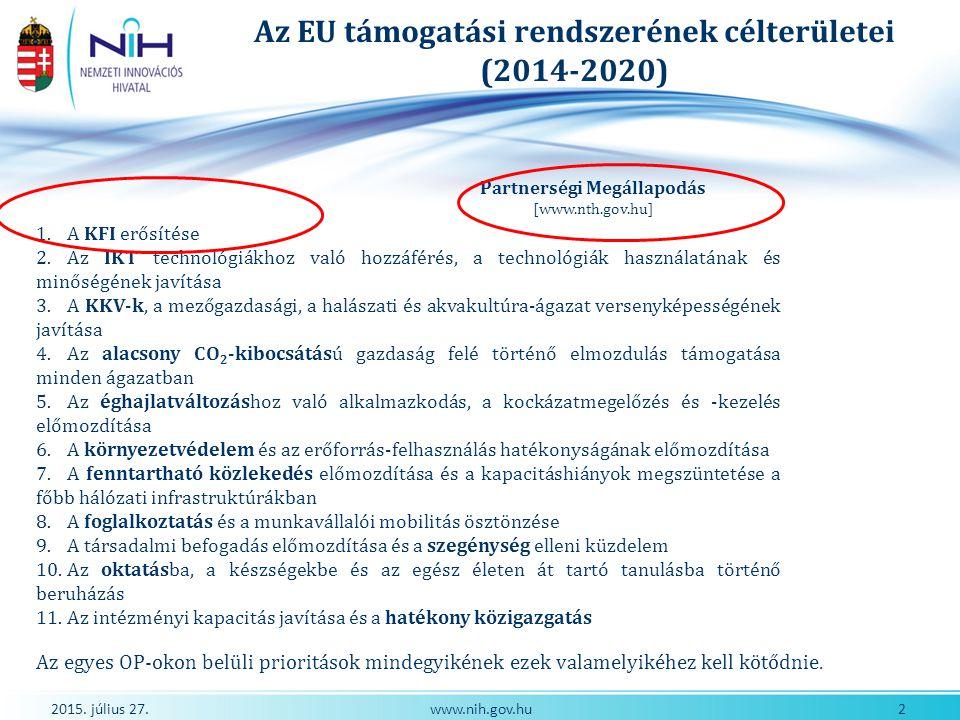 2015. július 27. 2www.nih.gov.hu Az EU támogatási rendszerének célterületei (2014-2020) 1. A KFI erősítése 2. Az IKT technológiákhoz való hozzáférés,