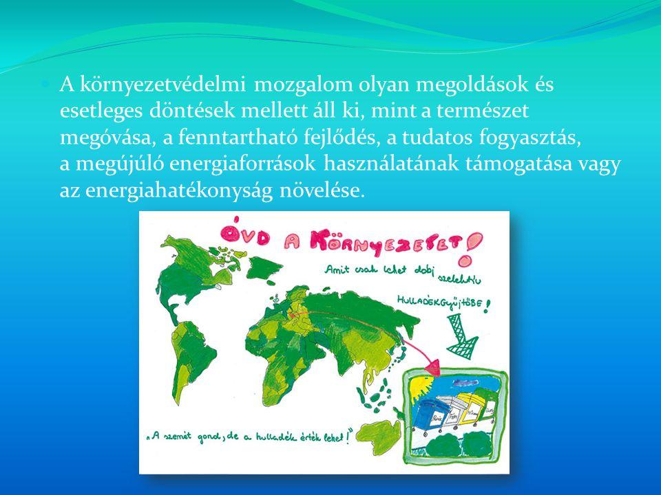 A környezetvédelmi mozgalom olyan megoldások és esetleges döntések mellett áll ki, mint a természet megóvása, a fenntartható fejlődés, a tudatos fogya