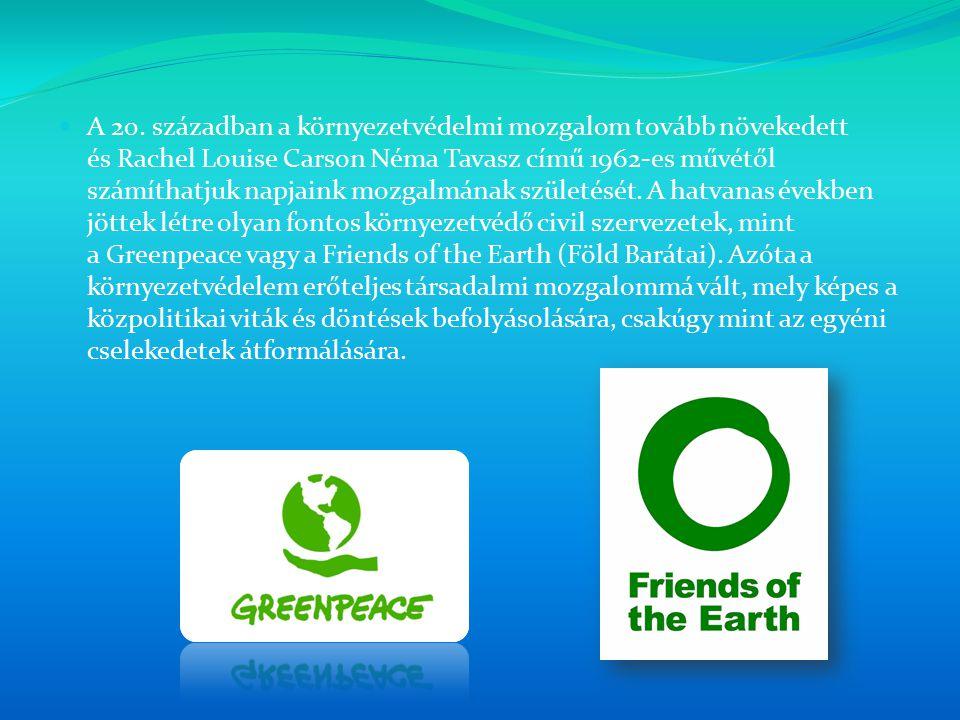 A 20. században a környezetvédelmi mozgalom tovább növekedett és Rachel Louise Carson Néma Tavasz című 1962-es művétől számíthatjuk napjaink mozgalmán