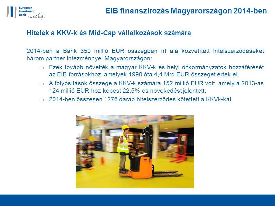 EIB finanszírozás Magyarországon 2014-ben Hitelek a KKV-k és Mid-Cap vállalkozások számára 2014-ben a Bank 350 millió EUR összegben írt alá közvetített hitelszerződéseket három partner intézménnyel Magyarországon: o Ezek tovább növelték a magyar KKV-k és helyi önkormányzatok hozzáférését az EIB forrásokhoz, amelyek 1990 óta 4,4 Mrd EUR összeget értek el.