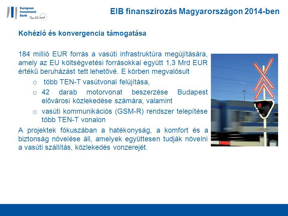 EIB finanszírozás Magyarországon 2014-ben Kohézió és konvergencia támogatása 184 millió EUR forrás a vasúti infrastruktúra megújítására, amely az EU költségvetési forrásokkal együtt 1,3 Mrd EUR értékű beruházást tett lehetővé.