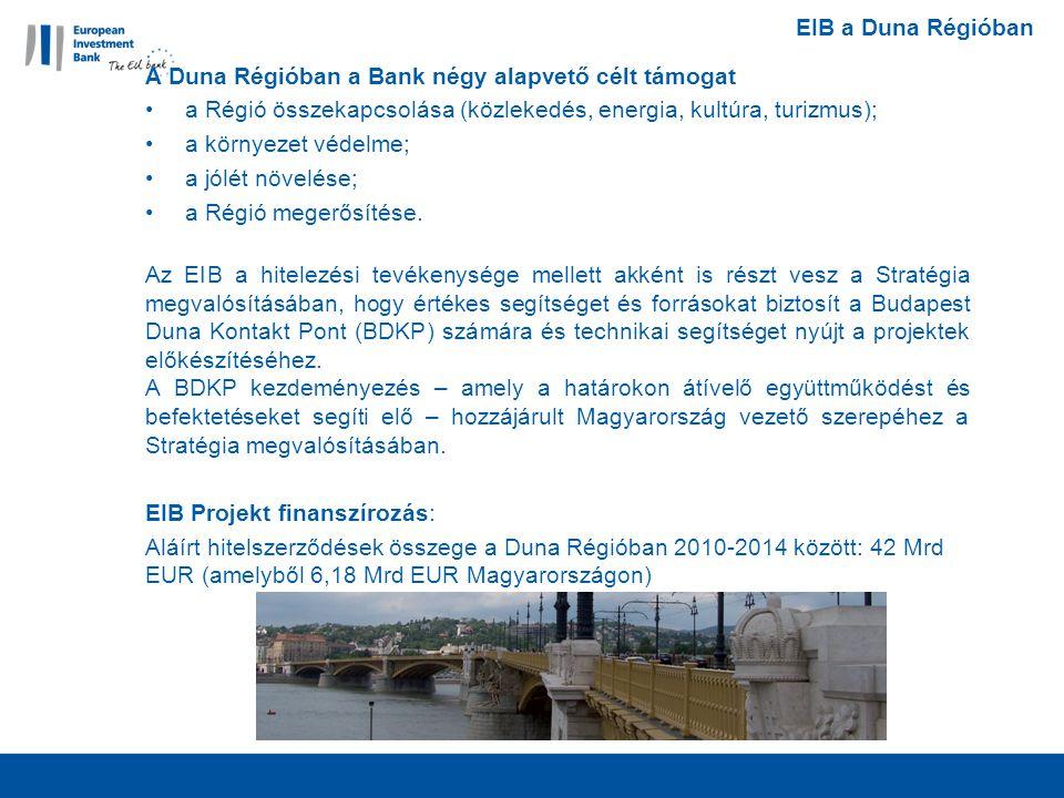 EIB a Duna Régióban A Duna Régióban a Bank négy alapvető célt támogat a Régió összekapcsolása (közlekedés, energia, kultúra, turizmus); a környezet védelme; a jólét növelése; a Régió megerősítése.