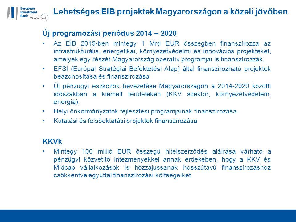 Lehetséges EIB projektek Magyarországon a közeli jövőben Új programozási periódus 2014 – 2020 Az EIB 2015-ben mintegy 1 Mrd EUR összegben finanszírozza az infrastrukturális, energetikai, környezetvédelmi és innovációs projekteket, amelyek egy részét Magyarország operatív programjai is finanszírozzák.