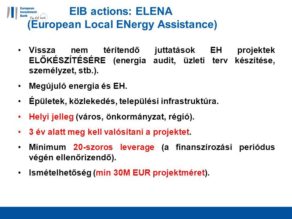 EIB actions: ELENA (European Local ENergy Assistance) Vissza nem térítendő juttatások EH projektek ELŐKÉSZÍTÉSÉRE (energia audit, üzleti terv készítése, személyzet, stb.).