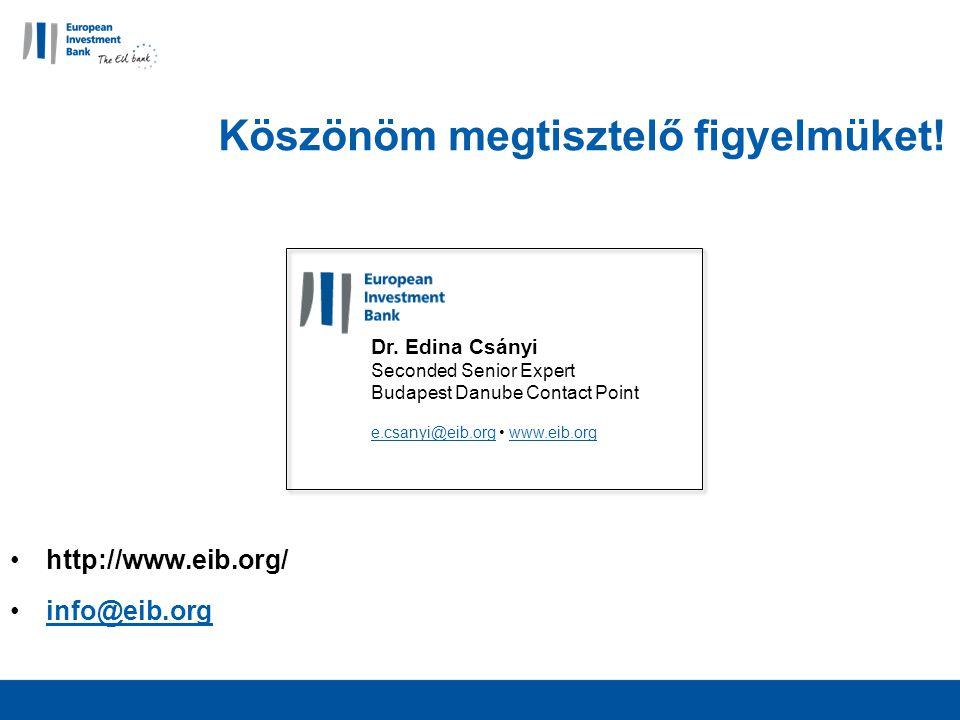 Köszönöm megtisztelő figyelmüket. http://www.eib.org/ info@eib.org Dr.