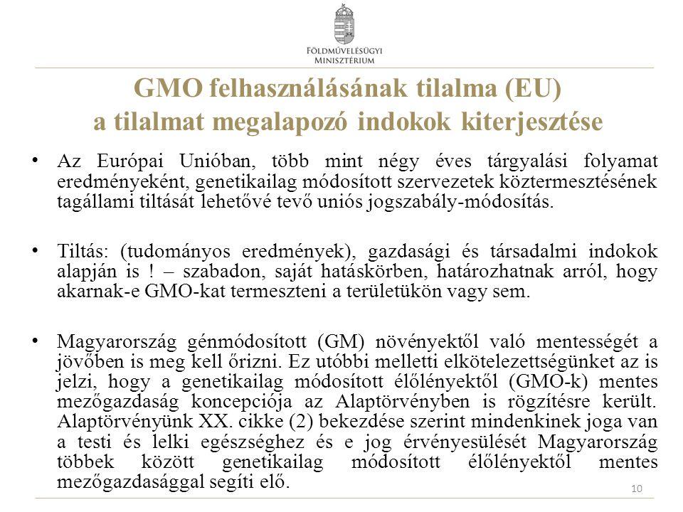 GMO felhasználásának tilalma (EU) a tilalmat megalapozó indokok kiterjesztése Az Európai Unióban, több mint négy éves tárgyalási folyamat eredményekén