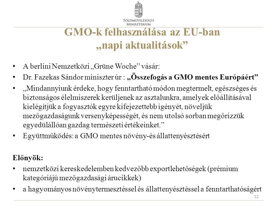 """GMO-k felhasználása az EU-ban """"napi aktualitások"""" A berlini Nemzetközi """"Grüne Woche"""" vásár: Dr. Fazekas Sándor miniszter úr : """"Összefogás a GMO mentes"""