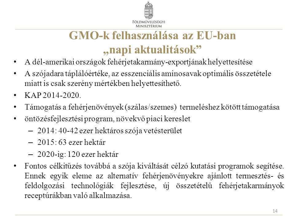 """GMO-k felhasználása az EU-ban """"napi aktualitások A dél-amerikai országok fehérjetakarmány-exportjának helyettesítése A szójadara táplálóértéke, az esszenciális aminosavak optimális összetétele miatt is csak szerény mértékben helyettesíthető."""