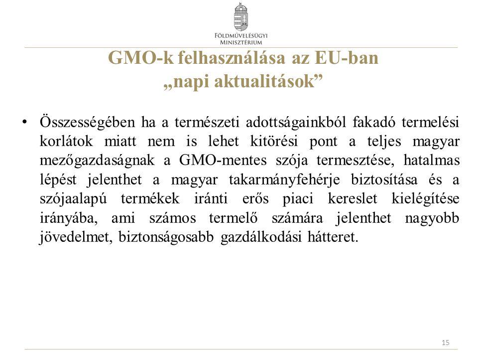 """GMO-k felhasználása az EU-ban """"napi aktualitások Összességében ha a természeti adottságainkból fakadó termelési korlátok miatt nem is lehet kitörési pont a teljes magyar mezőgazdaságnak a GMO-mentes szója termesztése, hatalmas lépést jelenthet a magyar takarmányfehérje biztosítása és a szójaalapú termékek iránti erős piaci kereslet kielégítése irányába, ami számos termelő számára jelenthet nagyobb jövedelmet, biztonságosabb gazdálkodási hátteret."""