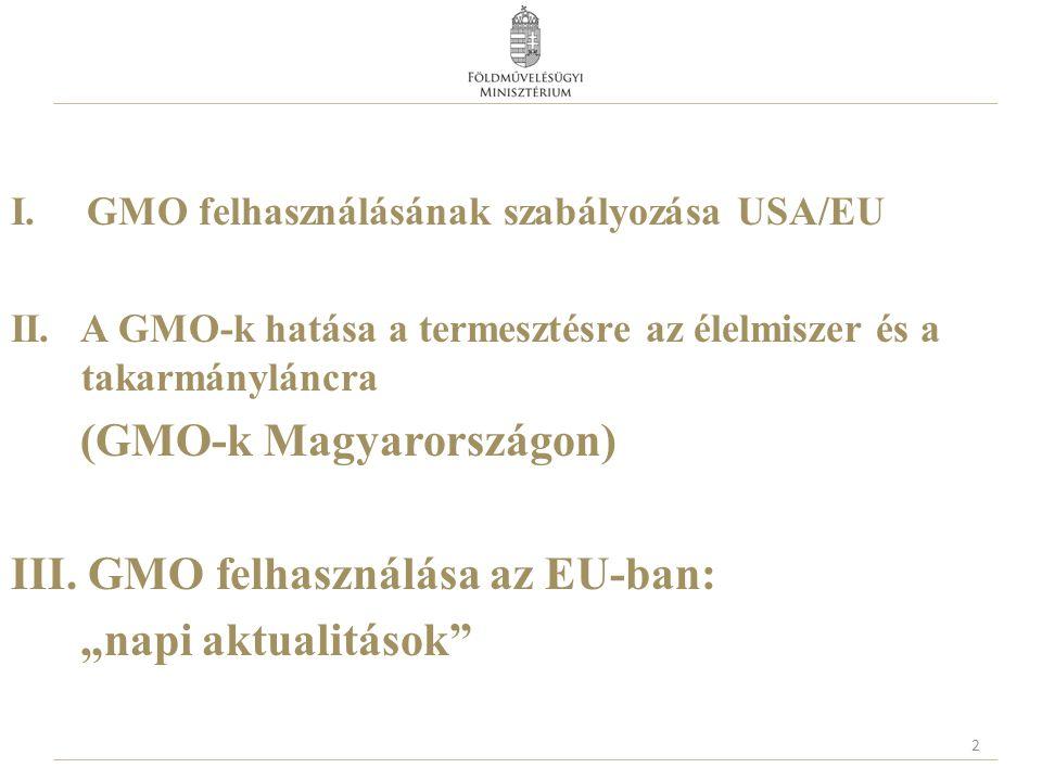 I. GMO felhasználásának szabályozása USA/EU II. A GMO-k hatása a termesztésre az élelmiszer és a takarmányláncra (GMO-k Magyarországon) III. GMO felha