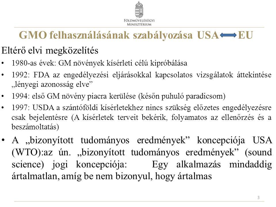 """GMO felhasználásának szabályozása USA EU Eltérő elvi megközelítés 1980-as évek: GM növények kísérleti célú kipróbálása 1992: FDA az engedélyezési eljárásokkal kapcsolatos vizsgálatok áttekintése """"lényegi azonosság elve 1994: első GM növény piacra kerülése (későn puhuló paradicsom) 1997: USDA a szántóföldi kísérletekhez nincs szükség előzetes engedélyezésre csak bejelentésre (A kísérletek terveit bekérik, folyamatos az ellenőrzés és a beszámoltatás) A """"bizonyított tudományos eredmények koncepciója USA (WTO):az ún."""
