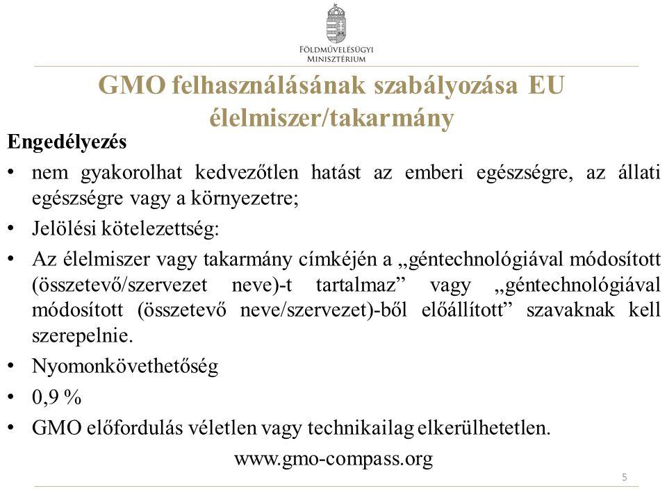 """GMO felhasználásának szabályozása EU élelmiszer/takarmány Engedélyezés nem gyakorolhat kedvezőtlen hatást az emberi egészségre, az állati egészségre vagy a környezetre; Jelölési kötelezettség: Az élelmiszer vagy takarmány címkéjén a """"géntechnológiával módosított (összetevő/szervezet neve)-t tartalmaz vagy """"géntechnológiával módosított (összetevő neve/szervezet)-ből előállított szavaknak kell szerepelnie."""