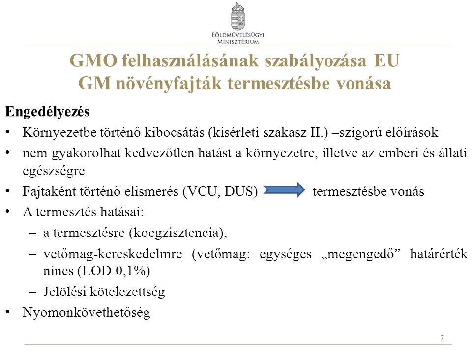"""GMO felhasználásának szabályozása EU GM növényfajták termesztésbe vonása Engedélyezés Környezetbe történő kibocsátás (kísérleti szakasz II.) –szigorú előírások nem gyakorolhat kedvezőtlen hatást a környezetre, illetve az emberi és állati egészségre Fajtaként történő elismerés (VCU, DUS) termesztésbe vonás A termesztés hatásai: – a termesztésre (koegzisztencia), – vetőmag-kereskedelmre (vetőmag: egységes """"megengedő határérték nincs (LOD 0,1%) – Jelölési kötelezettség Nyomonkövethetőség 7"""