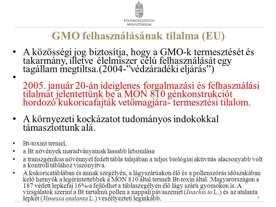 GMO felhasználásának tilalma (EU) A közösségi jog biztosítja, hogy a GMO-k termesztését és takarmány, illetve élelmiszer célú felhasználását egy tagállam megtiltsa.(2004- védzáradéki eljárás ) 2005.
