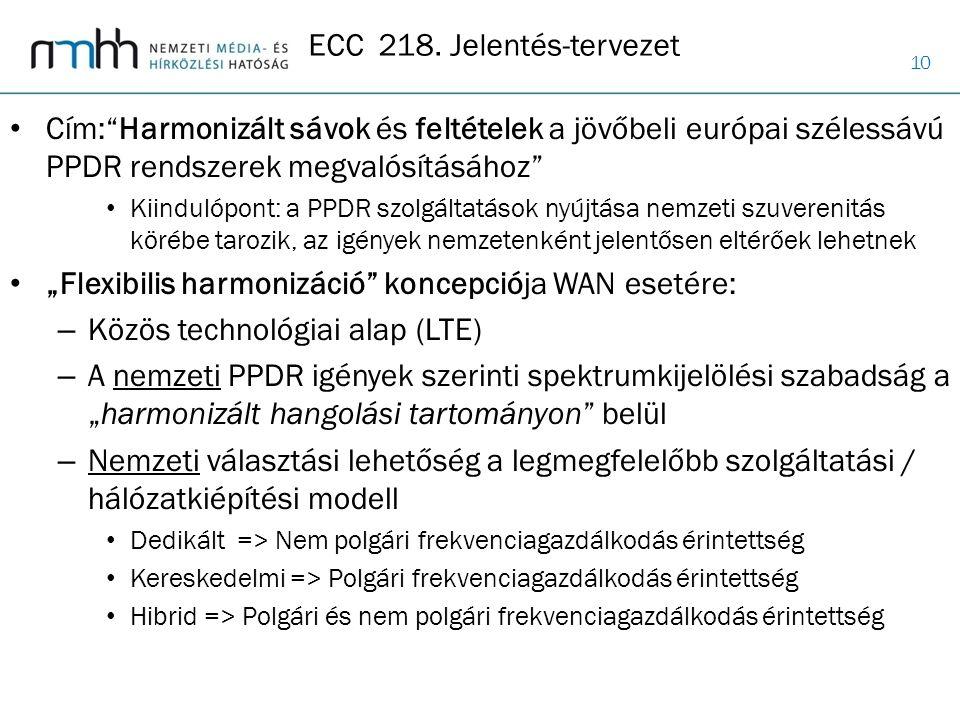 """10 Cím:""""Harmonizált sávok és feltételek a jövőbeli európai szélessávú PPDR rendszerek megvalósításához"""" Kiindulópont: a PPDR szolgáltatások nyújtása n"""