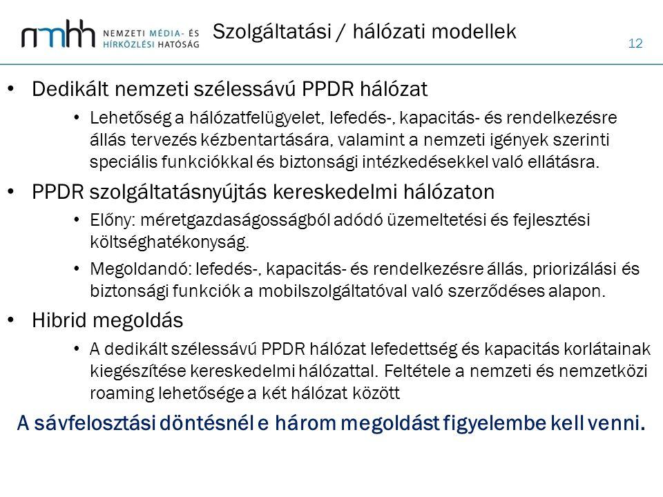 12 Dedikált nemzeti szélessávú PPDR hálózat Lehetőség a hálózatfelügyelet, lefedés-, kapacitás- és rendelkezésre állás tervezés kézbentartására, valam