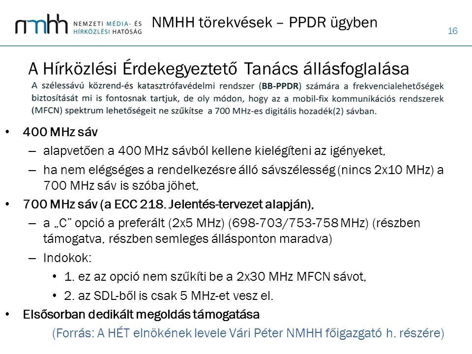 16 400 MHz sáv – alapvetően a 400 MHz sávból kellene kielégíteni az igényeket, – ha nem elégséges a rendelkezésre álló sávszélesség (nincs 2x10 MHz) a