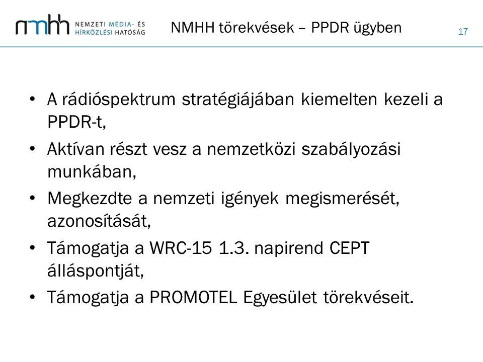 17 NMHH törekvések – PPDR ügyben A rádióspektrum stratégiájában kiemelten kezeli a PPDR-t, Aktívan részt vesz a nemzetközi szabályozási munkában, Megk