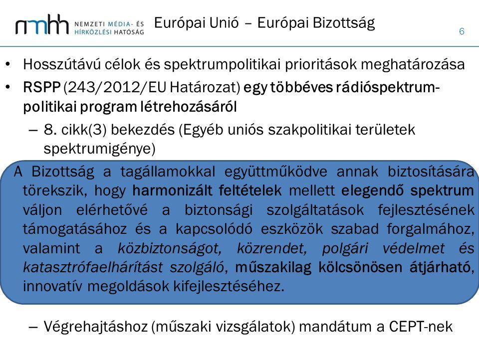 6 Európai Unió – Európai Bizottság Hosszútávú célok és spektrumpolitikai prioritások meghatározása RSPP (243/2012/EU Határozat) egy többéves rádióspek