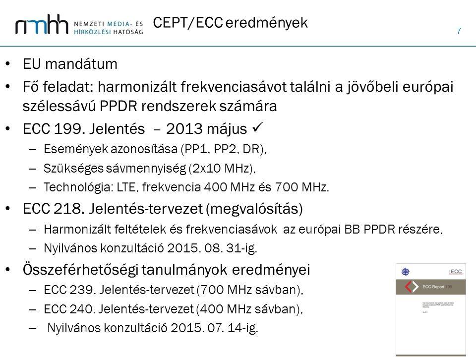 7 CEPT/ECC eredmények EU mandátum Fő feladat: harmonizált frekvenciasávot találni a jövőbeli európai szélessávú PPDR rendszerek számára ECC 199. Jelen