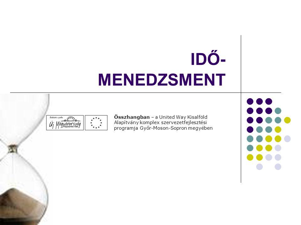 IDŐ- MENEDZSMENT Összhangban – a United Way Kisalföld Alapítvány komplex szervezetfejlesztési programja Győr-Moson-Sopron megyében