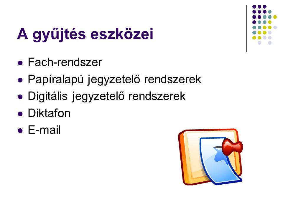 A gyűjtés eszközei Fach-rendszer Papíralapú jegyzetelő rendszerek Digitális jegyzetelő rendszerek Diktafon E-mail