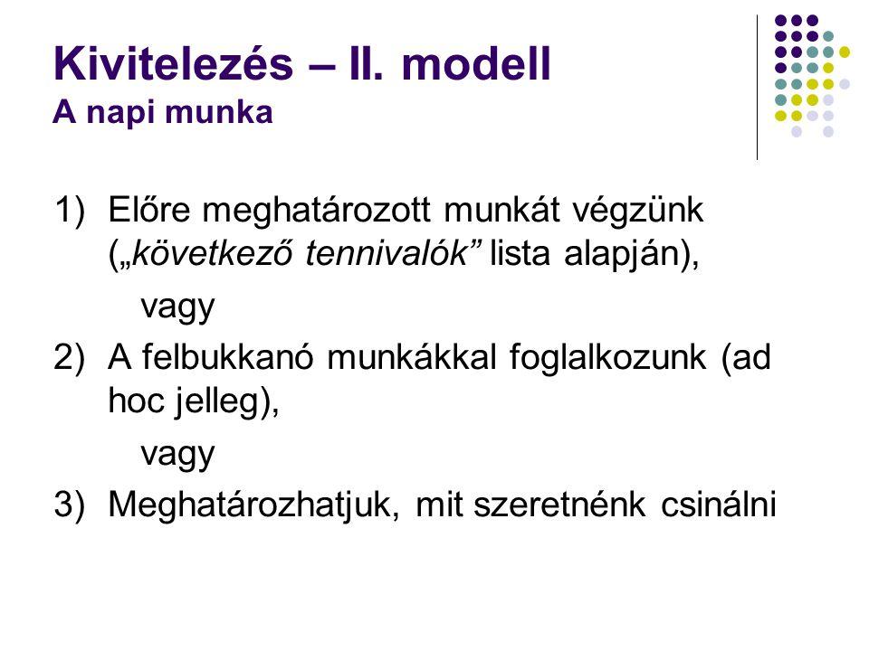 """Kivitelezés – II. modell A napi munka 1)Előre meghatározott munkát végzünk (""""következő tennivalók"""" lista alapján), vagy 2)A felbukkanó munkákkal fogla"""