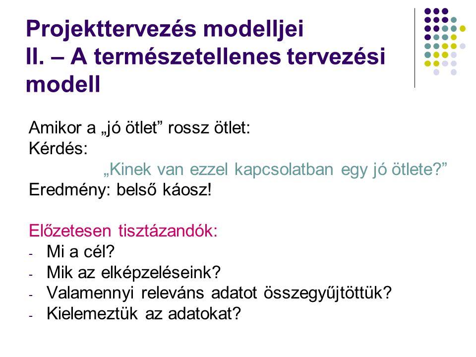 Projekttervezés modelljei II.