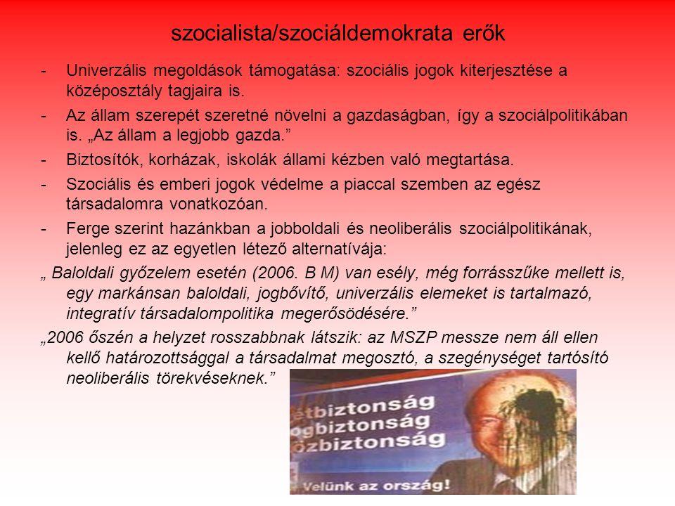 szocialista/szociáldemokrata erők -Univerzális megoldások támogatása: szociális jogok kiterjesztése a középosztály tagjaira is. -Az állam szerepét sze